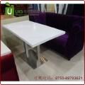 人造石餐桌面配不锈钢桌脚 简洁耐用 大理石餐桌定制